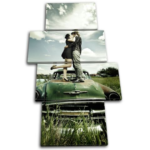 Kissing Couple Retro Car Love - 13-0162(00B)-MP04-PO